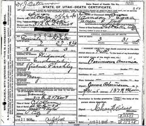 Tamson Egan death certificate